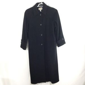 Talbots Women Wool Cashmere Long Black Trench Coat